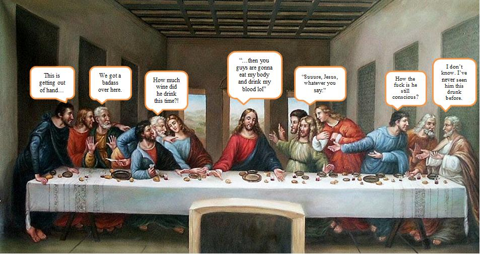 Jesus drunk again for Difference between dinner supper